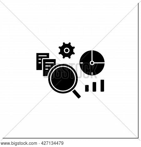 Timely Analytics Glyph Icon. Displayed In Real Time Reports And Information, Detailed Analysis. Busi
