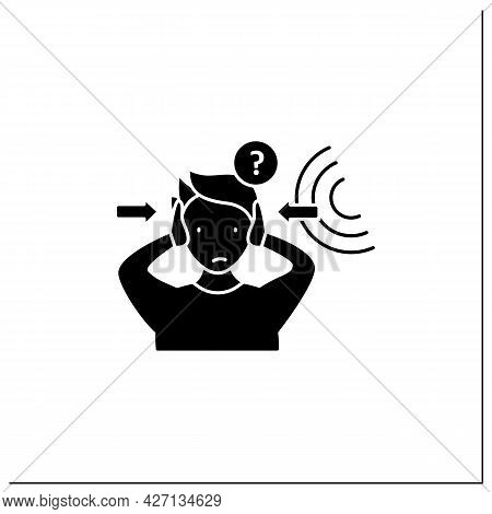 Auditory Hallucinations Glyph Icon. False Sound Perceptions. Paracusia. Schizophrenia Symptoms Conce