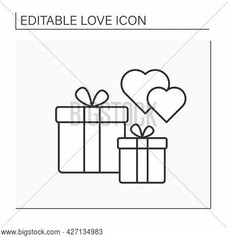 Presents Line Icon. Surprise For Beloved Person. Two Gifts For Special Occasions. Love Concept. Isol