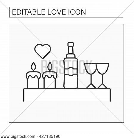 Romantic Dinner Line Icon. Dinner With Candles, Drink And Glasses. Romantic Event For Beloved Person