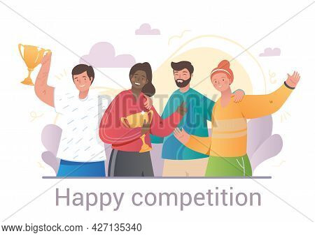 Happy Competition Concept With Team Of Winners And Trophies Celebrating With Diverse Multiethnic Mal