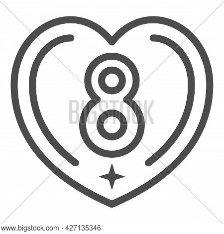 Eight In Heart Line Icon, 8 March Concept, International Women Day Greeting Card Sign On White Backg