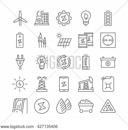 Simple Set Of Isolated Energy Types Vector Line Icons. Contains Such Icons As Socket, Canister, Oil