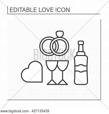 Wedding Line Icon. Wedding Ceremony For Beloved Couple. Romantic Dinner With Champagne. Crossed Ring