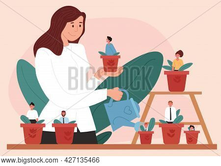 Woman Leader Watering Flower Pots With Staff Inside. Mentoring And Growing Employees. Concept Of Man