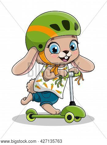 Cute Cartoon Baby Rabbit Wearing Helmet Riding Electric Or Kick Scooter. Flat Cartoon Vector Illustr