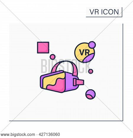 Vr Headset Color Icon. Depict Spatial Depth. Virtual Reality Gaming Process. Modern Technology Conce