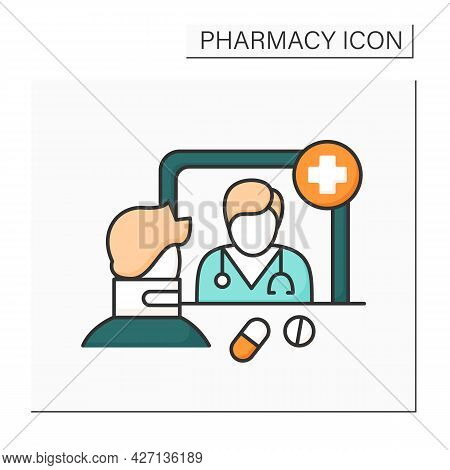 Community Pharmacy Color Icon. Retail Pharmacy. Organization Allows Public Access To Medications And