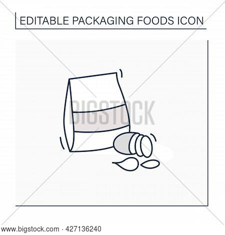 Potato Chips Line Icon. Different Types Of Chips In Box. Portion Control, Protection, Tampering Resi