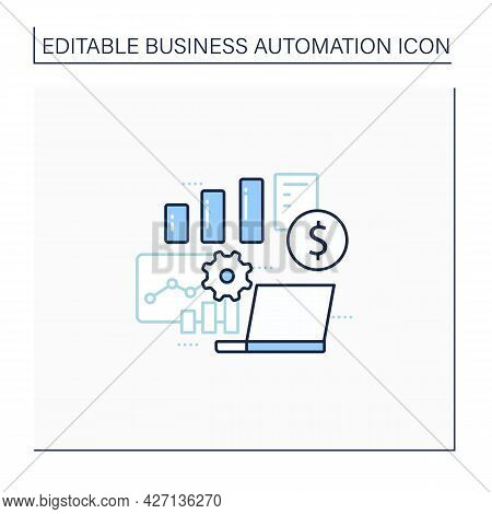 Business Metrics Line Icon. Saving Real Information In Databases. Shows Companys Goals. Business Aut