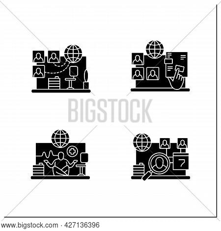 Remote Command Management Glyph Icons Set. Virtual Office, Interactive Documents, Work Conditions, D