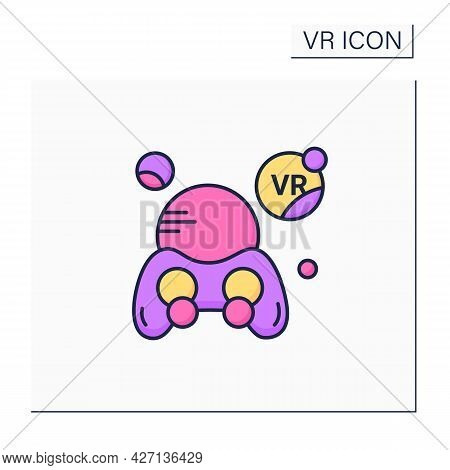 Virtual Reality Games Color Icon. Games With Vr Technology Gives Players Perspective Of Game Action.