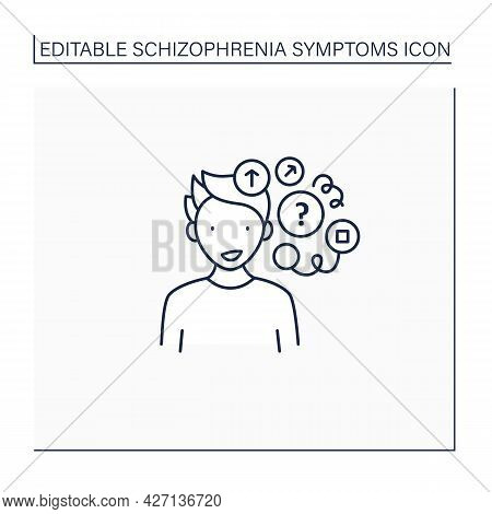 Loose Associations Line Icon. Rapidly Shifting From Topic To Topic. Chaotic Thoughts.schizophrenia S
