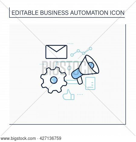 Marketing Automation Line Icon. Help Businesses Scale Relevant. Digital Inviting Potential Customers