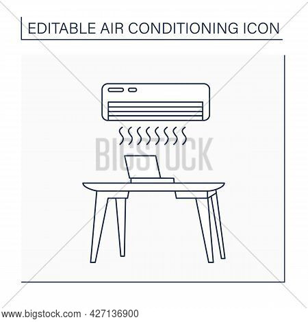 Air Conditioner Line Icon. Special Tool For Cooling Air In Office. Comfort Conditions For Workers. O