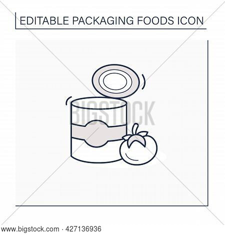Tomato Soup Line Icon. Soup In Tin Can. Steel Container.portion Control, Protection, Tampering Resis