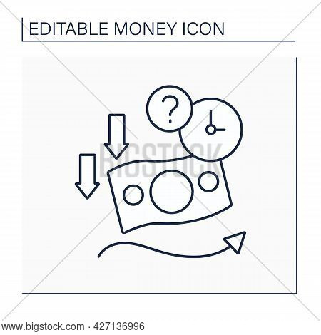Soft Currency Line Icon. Valuta Which Value Fluctuates. Lower Relative To Other Currencies. Money Co