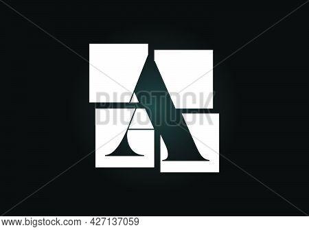 Initial A Monogram Letter Alphabet Made Of Four Squares. Font Emblem. Broken, Puzzle Alphabet Sign.