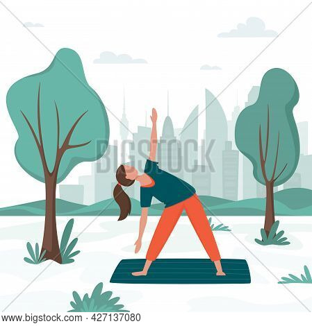 Happy Woman In Sportswear On Outdoor Yoga Class In City Park. Outdoor Activity. Urban Recreation Con