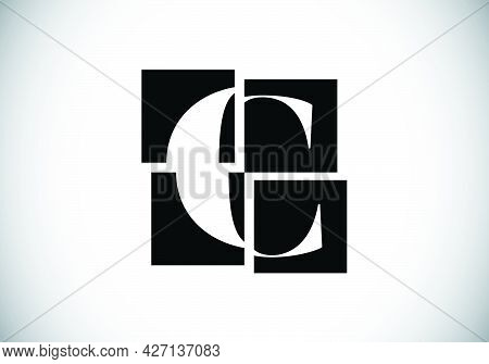 Initial C Monogram Letter Alphabet Made Of Four Squares. Font Emblem. Broken, Puzzle Alphabet Sign.