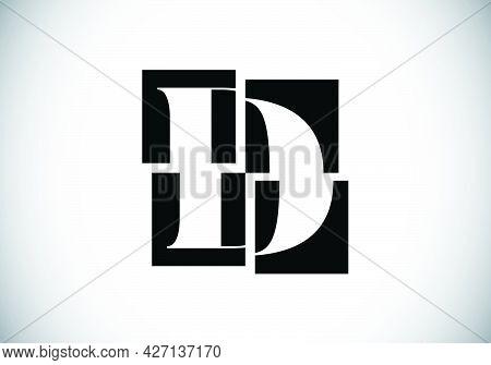 Initial D Monogram Letter Alphabet Made Of Four Squares. Font Emblem. Broken, Puzzle Alphabet Sign.