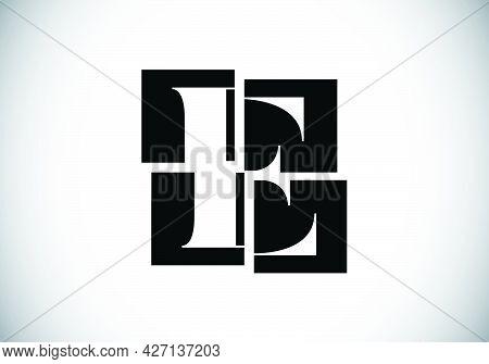 Initial E Monogram Letter Alphabet Made Of Four Squares. Font Emblem. Broken, Puzzle Alphabet Sign.