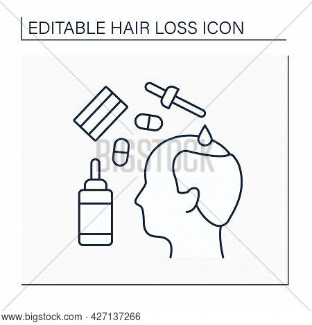 Treatment Line Icon. Medications For Hair Loss. Drugs And Special Serums For Restoring And Stimulati