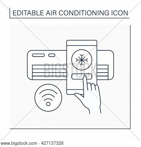 Air Conditioner Line Icon. Contactless Control Of Cooling Machine. Software For Managing On Smartpho