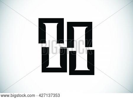 Initial H Monogram Letter Alphabet Made Of Four Squares. Font Emblem. Broken, Puzzle Alphabet Sign.
