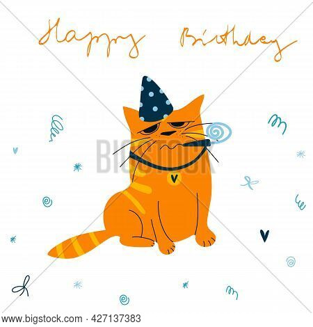 Vector Greeting Card With Ginger Cat In Birthday Hat And Hand Drawn Lettering. Happy Birthday Cartoo