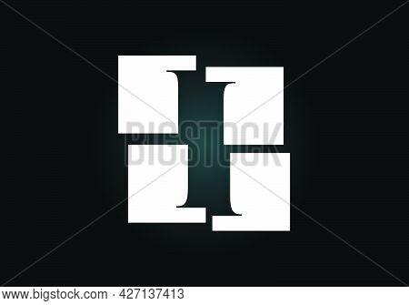 Initial I Monogram Letter Alphabet Made Of Four Squares. Font Emblem. Broken, Puzzle Alphabet Sign.