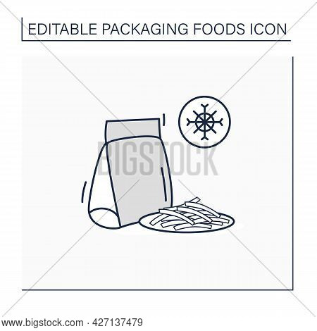Frozen French Fries Line Icon. Sliced Potatoes In Package. Portion Control, Protection, Tampering Re