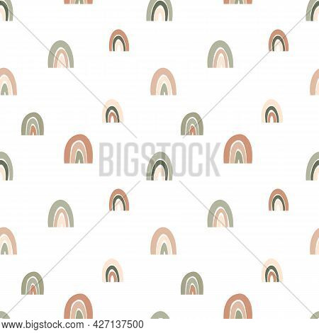 Seamless Pattern With Boho Rainbows In Earth Tones. Calm Childish Illustration In White Background F