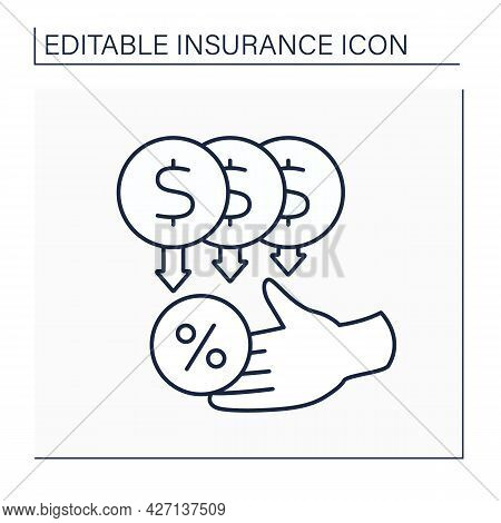 Commission Line Icon. Percentage Of Premium. Retained As Compensation By Insurance Agents And Broker