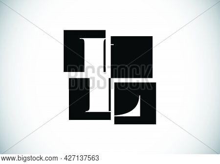Initial L Monogram Letter Alphabet Made Of Four Squares. Font Emblem. Broken, Puzzle Alphabet Sign.