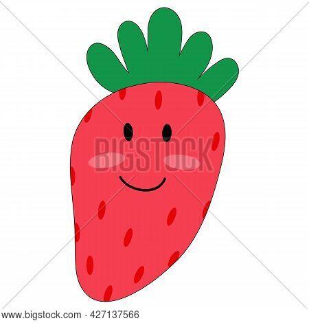 Vector Illustration Of Cute Cartoon Strawberry In Flat Childish Style. Anthropomorphic Smiling Kawai
