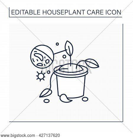 Gardening Line Icon. Plants Diseases. Remove And Destroy Diseased Houseplants.home Gardening. Housep