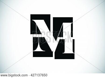 Initial M Monogram Letter Alphabet Made Of Four Squares. Font Emblem. Broken, Puzzle Alphabet Sign.