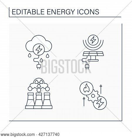 Energy Line Icons Set. Thunderstorm, Solar, Wind Energy. Fusion Reactor, Thermoelectric Generator. E