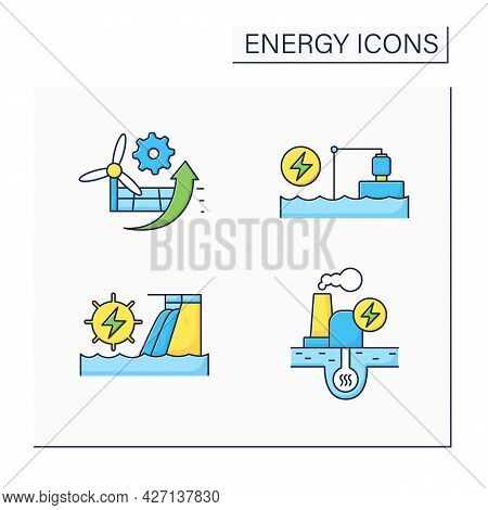 Energy Color Icons Set. P2x, Pumped Storage, Hydroelectric, Geothermal Power Stations. Electricity G