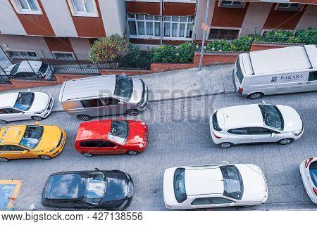 Beyoglu, Istanbul, Turkey - 07.04.2021: High Angle Of A Lot Of Colorful Cars Causing Traffic Jam On