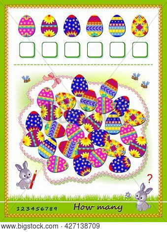 Math Education For Children. Count Quantity Of Easter Eggs And Write The Numbers. Developing Countin