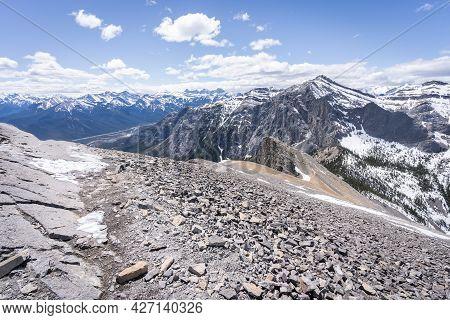Mountain Summit Views With Rocky Foreground, Shot At Mt Yamnuska Summit, Canadian Rockies, Alberta,