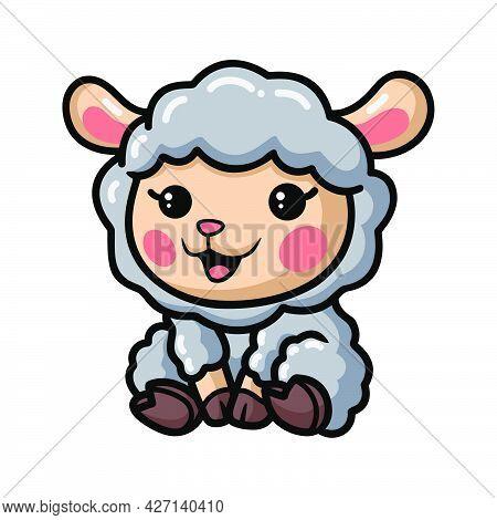 Vector Illustration Of Cute Baby Sheep Cartoon Sitting