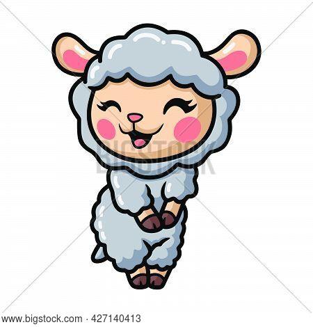 Vector Illustration Of Cute Baby Sheep Cartoon Posing