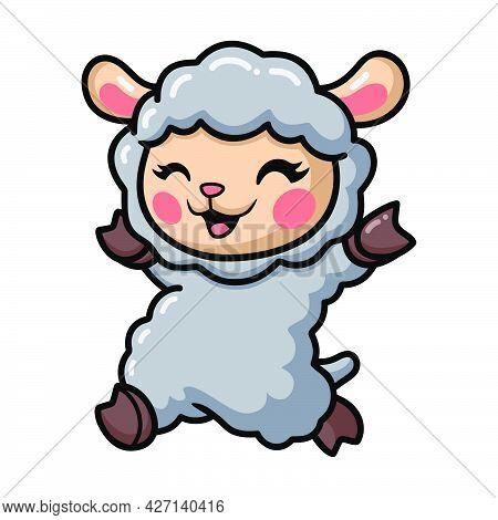 Vector Illustration Of Cute Baby Sheep Cartoon Running