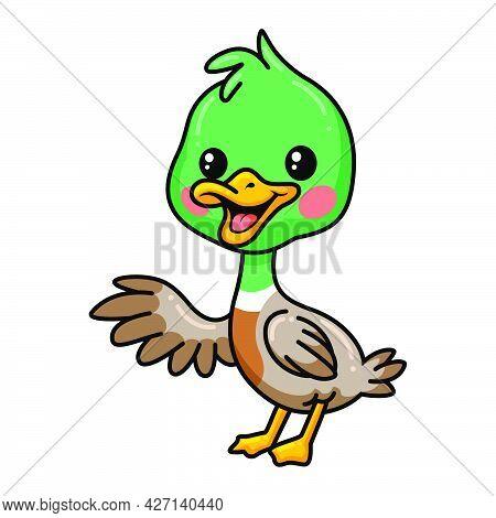 Vector Illustration Of  Cute Little Duck Cartoon Waving Hand