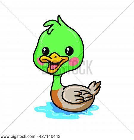 Vector Illustration Of Cute Little Duck Cartoon Swimming