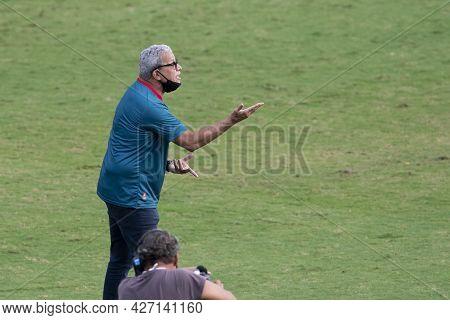 Rio, Brazil - July 18, 2021: Helio Dos Anjos Coach In Match Between Vasco 1 Vs 1 Nautico By 12th Rou