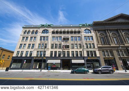 Worcester, Ma, Usa - Jul. 27, 2020: Central Exchange Building At 311 Main Street At Exchange Street